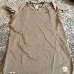 Women's grey Nike pro shirt